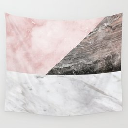 Smokey marble blend - pink and grey stone Wall Tapestry