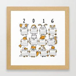 2016 Animal Calendar Framed Art Print