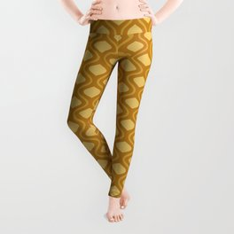 Moroccan Mid Century Lattice Pattern // Raw Sienna, Gold, Bronze Leggings