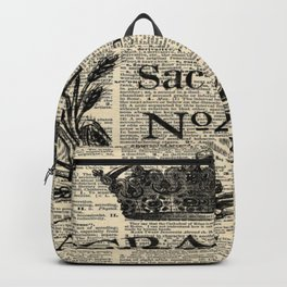 dictionary print rustic shabby french country wheat wreath Backpack