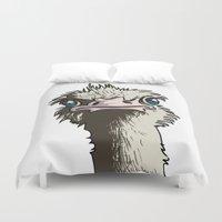 ostrich Duvet Covers featuring Grumpy Ostrich by Michael Hewitt