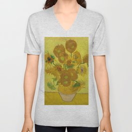Sunflowers on Yellow Background Vincent Van Gogh Unisex V-Neck