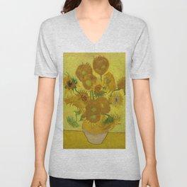 Sunflowers on Yellow Background Vincent Van Gogh Unisex V-Neck