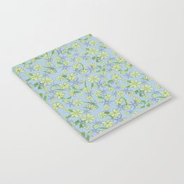 Pretty blue and green tossed floral Notebook