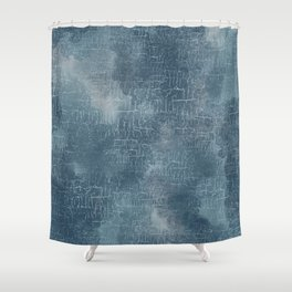 Abstract Grunge Art in Slate Blue and Gray Shower Curtain