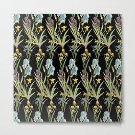 Vintage Floral Pattern | No. 2A | Iris Flowers | Irises Metal Print