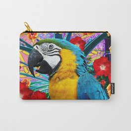 DecorativeTropical Blue Macaw  Hibiscus Flowers Carry-All Pouch