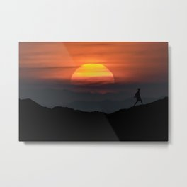 Man Walking at Mountains Landscape Illustration Metal Print