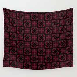 Cherry and black English half-timbered Tudor house pattern Wall Tapestry