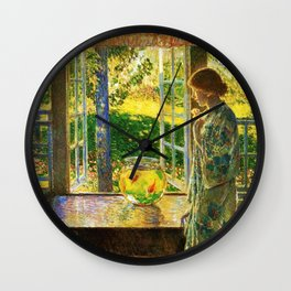 Classical Masterpiece 'The Goldfish Window' by Frederick Childe Hassam Wall Clock