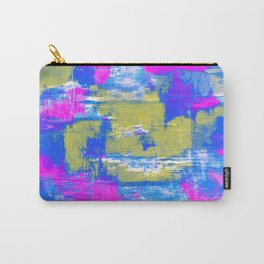 Just Relax - Abstract, pink, blue and yellow painting Carry-All Pouch