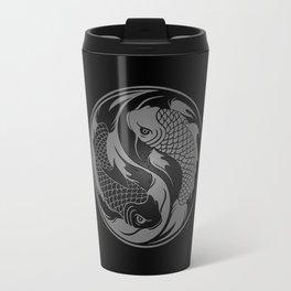 Gray and Black Yin Yang Koi Fish Travel Mug