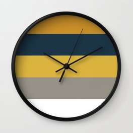 Broad Stripes in Light and Dark Mustard, Navy Blue, Gray, and White Wall Clock