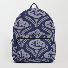 Calla Lily Pattern Blue and Gray Backpack