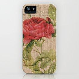 Vintage Burlap Floral 1 iPhone Case