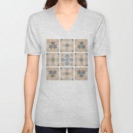 Terracotta Vintage Tiles Design Unisex V-Neck
