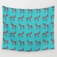 donkey Wall Tapestries featuring funny donkey pattern by los_ojos_pardos