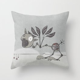 Grey Shrieky Throw Pillow