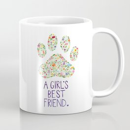 A Girl's Best Friend Floral Watercolor Coffee Mug