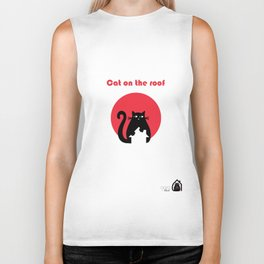 """Cat on the roof"" by Qora and Shaï Biker Tank"