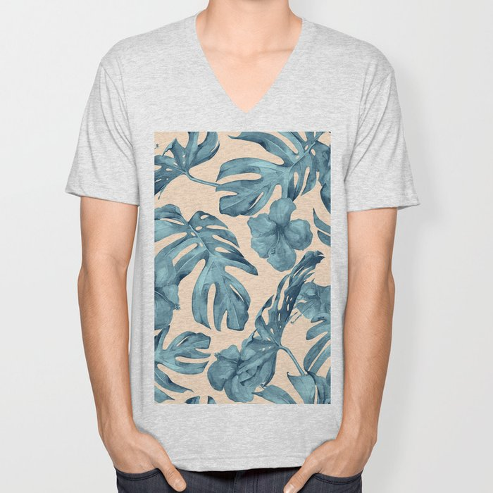 Island Vacay Hibiscus Palm Pale Coral Teal Blue Unisex V-Neck