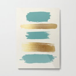 Brush Strokes (Teal/Gold) Metal Print
