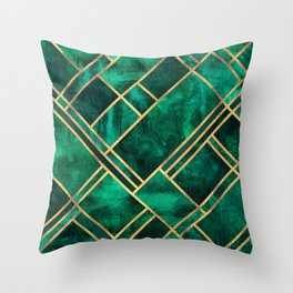 Emerald Blocks Throw Pillow