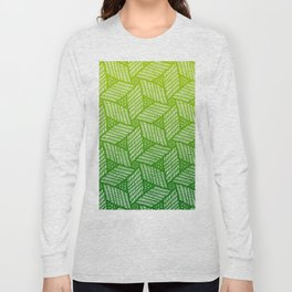 Japanese style wood carving pattern in green Long Sleeve T-shirt