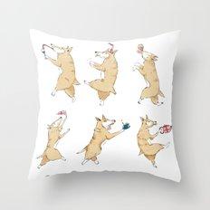 Queen's Corgi Dance Throw Pillow