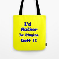 golf Tote Bags featuring Golf by Brian Raggatt