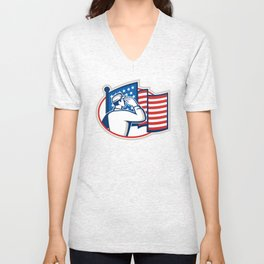 American Soldier Salute Flag Retro Unisex V-Neck