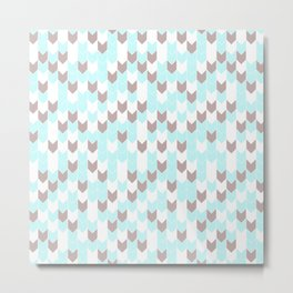 Modern aqua blush pink brown geometrical chevron Metal Print