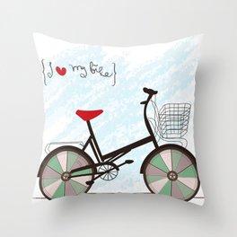 I {❤} My Bike Throw Pillow