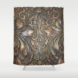 Golden Brown Carved Tooled Leather Shower Curtain