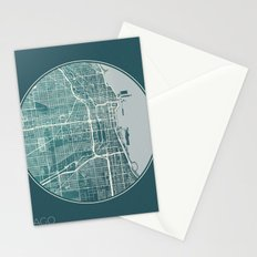 Chicago Map Planet Stationery Cards