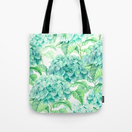 Hand painted green watercolor hydrangea floral pattern Tote Bag