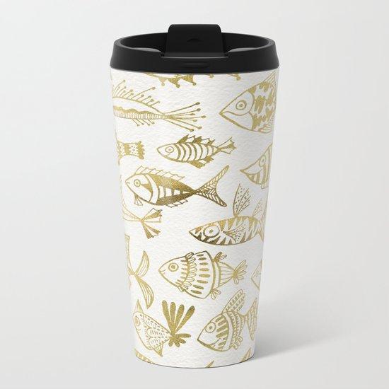 Gold-Inked Fish Metal Travel Mug
