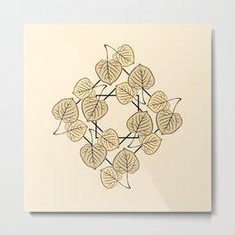 Dry Aspen Leaves in Squares Metal Print