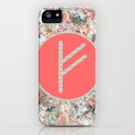 Rune Fehu rose petals iPhone Case