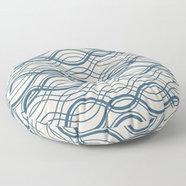 Blue & Linen White Thin Overlapping Horizontal Lines Pattern Pairs To 2020 Color of the Year Floor Pillow