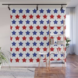 Red and Blue Stars Wall Mural
