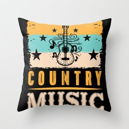 Retro Vintage Country Music Band Pick Throw Pillow