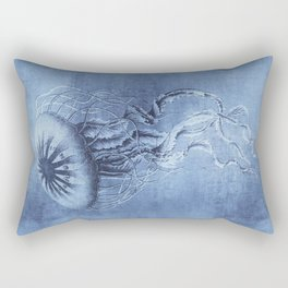 Blue Jellyfish Underwater Magic Rectangular Pillow