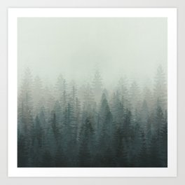 Into The Misty Nature - Turquoise Green Art Print