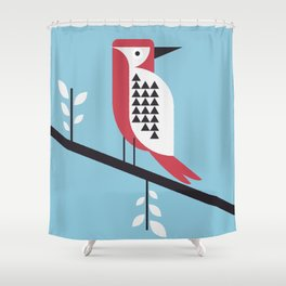 woodpecker in blue Shower Curtain