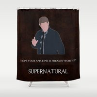 winchester Shower Curtains featuring Supernatural - Dean Winchester by MacGuffin Designs