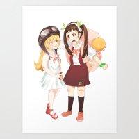 Hachikuji and Shinobu Art Print