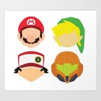 nintendo Art Prints featuring Nintendo Greats by MoleFole