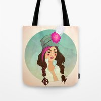 bohemian Tote Bags featuring Bohemian by Kit Seaton