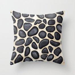 Black Pebble Floor Set in Cement Throw Pillow